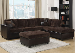 Mallory Chocolate Sectional & Ottoman,Coaster Furniture