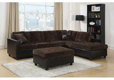 Zeus Mallory Casual Dark Chocolate Sectional,Coaster Furniture