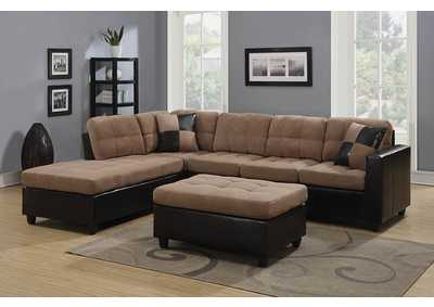 Licorice Mallory Casual Tan Sectional,Coaster Furniture