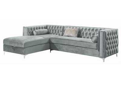 Gunsmoke Bellaire Contemporary Silver and Chrome Sectional