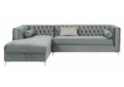 Gunsmoke Bellaire Contemporary Silver and Chrome Sectional,Coaster Furniture