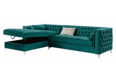 Cod Gray Bellaire Contemporary Teal and Chrome Sectional