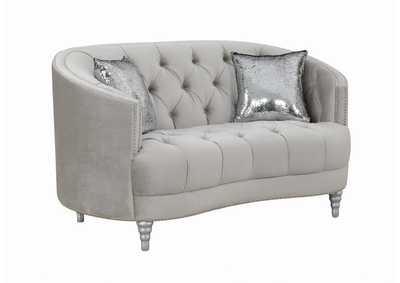 Delta Avonlea Traditional Grey and Chrome Loveseat,Coaster Furniture