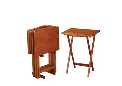 Image for Prairie Sand Brown Tray Table Set W/ Stand