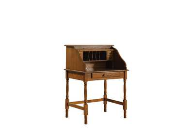 Raw Umber Palmetto Warm Honey Roll Top Secretary Desk