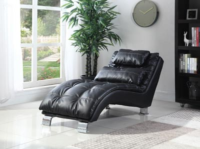 Chrome Contemporary Black Faux Leather Chaise,Coaster Furniture