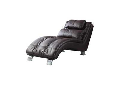 Eerie Black Contemporary Brown Faux Leather Chaise