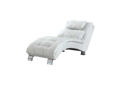 Chrome Dilleston Contemporary White Chaise