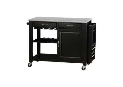 Black Kitchen Cart W/ Granite Top