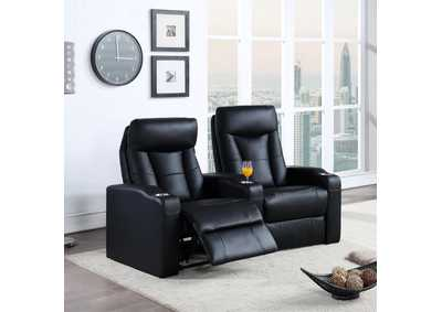 Image for Cod Gray Pavillion Black Leather Two-Seated Recliner