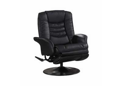 Eerie Black Casual Black Faux Leather Swivel Recliner