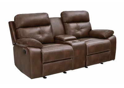 Iroko Damiano Brown Faux Leather Reclining Loveseat,Coaster Furniture