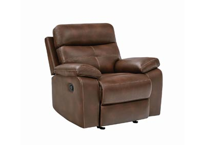 Judge Gray Damiano Brown Faux Leather Recliner,Coaster Furniture