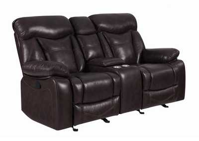 Mine Shaft Zimmerman Casual Dark Brown Motion Loveseat,Coaster Furniture