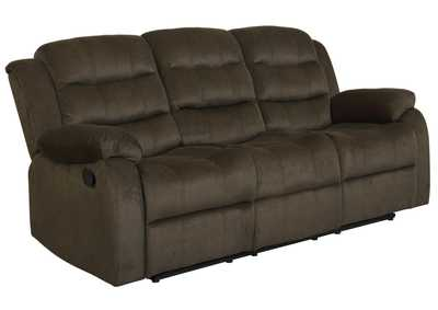 Mondo Rodman Chocolate Reclining Sofa,Coaster Furniture