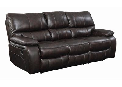 Eerie Black Willemse Chocolate Reclining Sofa W/ Drop Down Table