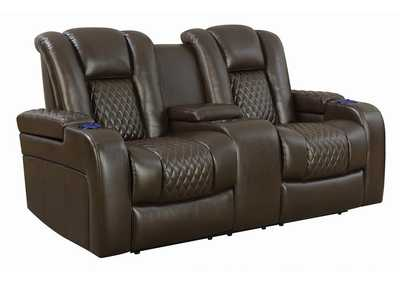 Armadillo Delangelo Brown Power Motion Reclining Loveseat,Coaster Furniture