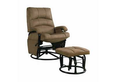 Hunter Green Casual Brown Reclining Glider W/ Matching Ottoman