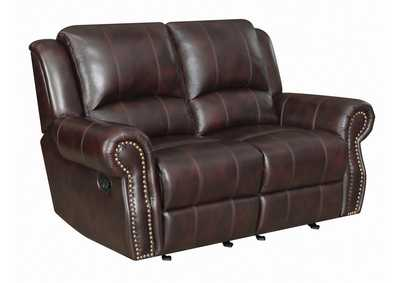 Woody Brown Sir Rawlinson Tobacco Leather Reclining Loveseat,Coaster Furniture