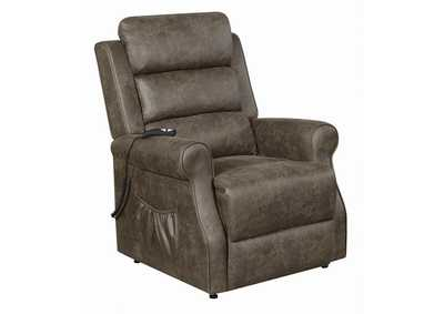 Taupe Casual Brown Power Lift Recliner