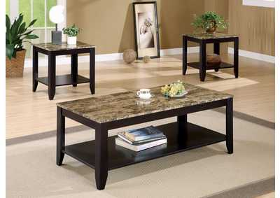 Walnut Transitional Marble Look Top Three-Piece Table Set