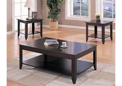 Cappuccino Casual Three-Piece Occasional Table Set