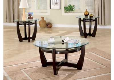 Cappuccino Contemporary Three-Piece Round Occasional Table Set