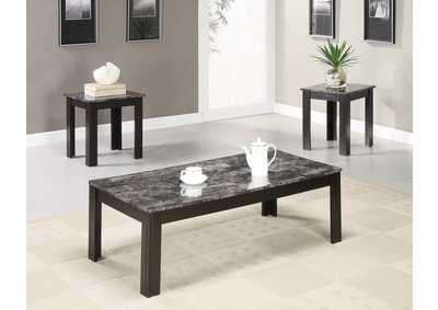 Black Casual Three-Piece Occasional Table Set