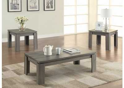 Dark Grey Contemporary Distressed Grey Three-Piece Set,Coaster Furniture