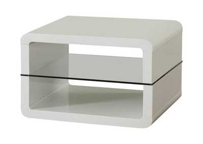 White Modern White End Table