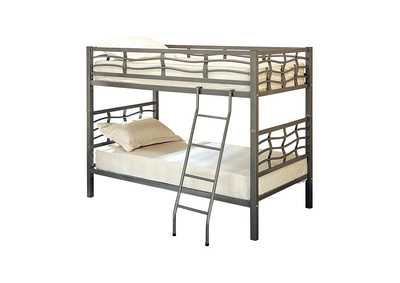 Satin Linen Contemporary Metal Bunk Bed