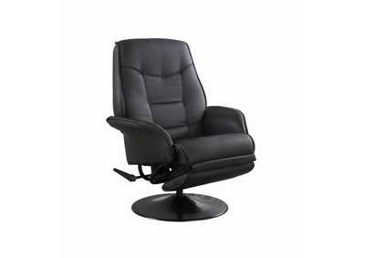Mine Shaft Berri Contemporary Black Swivel Recliner