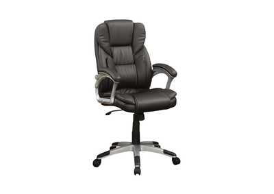 Silver Transitional Dark Brown Office Chair