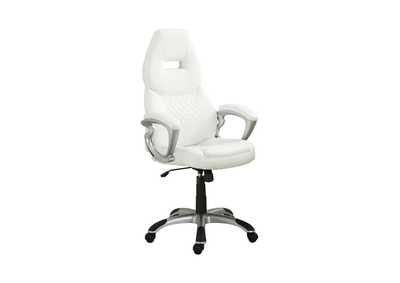 Silver Contemporary White Office Chair