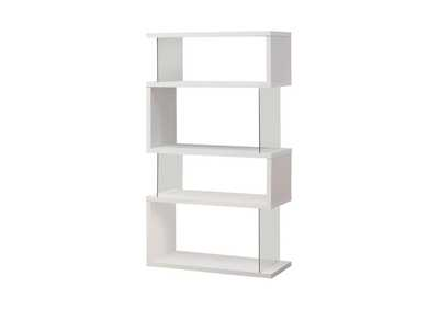 White Asymmetrical Bookcase