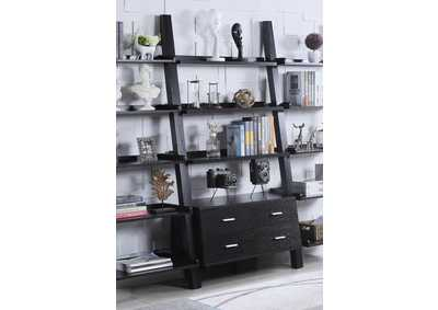 Cappuccino Contemporary Leaning Bookcase