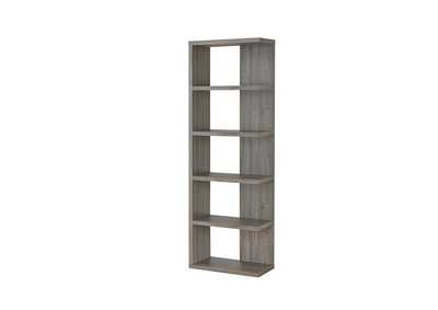 Weathered Grey Contemporary Weathered Grey Five-Shelf Bookcase