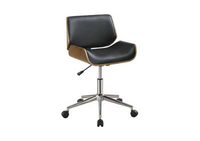 Walnut Modern Black Office Chair