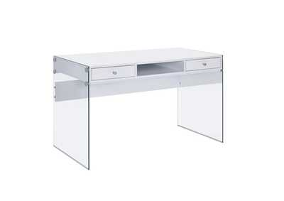 White High Gloss Contemporary Glossy White Writing Desk