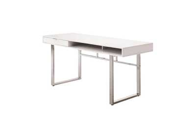 Image for White High Gloss Contemporary White Writing Desk
