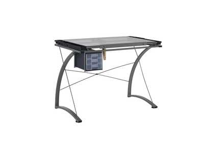 Granite Gray Contemporary Glass Top Drafting Desk