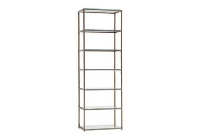 Tide Contemporary Black Nickel Six-Tier Bookcase