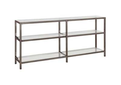 Swiss Coffee Contemporary Black Nickel Two-Tier Double Bookcase