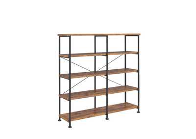 Antique Nutmeg Barritt Industrial Antique Nutmeg Double-Wide Bookcase