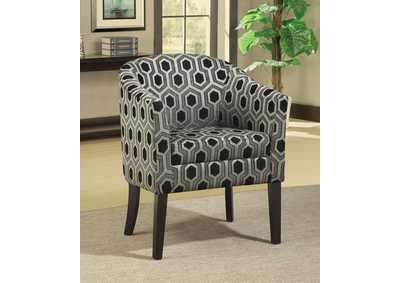 Eerie Black Charlotte Hexagon Print Accent Chair,Coaster Furniture