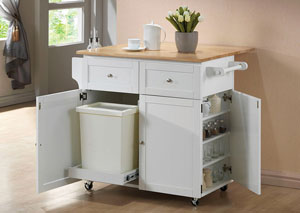 Natural Brown/ White Transitional Brown and Kitchen Cart