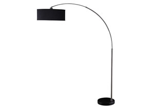 Chrome Contemporary Black and Chrome Floor Lamp