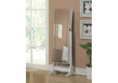 White Cheval Mirror and Jewelry Armoire
