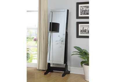 Black Cheval Mirror and Jewelry Armoire