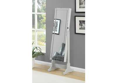 Dove Grey Cheval Mirror and Jewelry Armoire